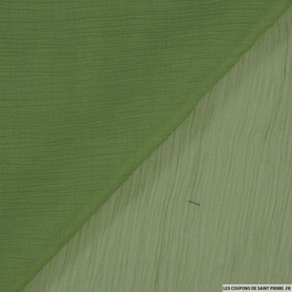 Mousseline crinkle vert anis