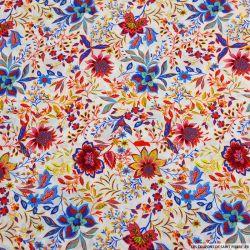 Viscose imprimée fleurs d'utopie fond blanc