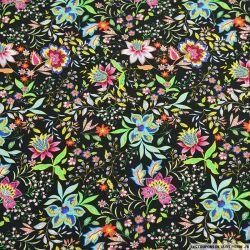 Viscose imprimée fleurs d'utopie fond noir