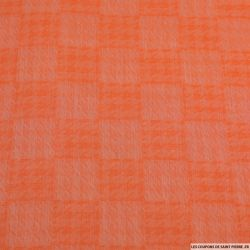 Jacquard de viscose pied de coq jaune orange melon