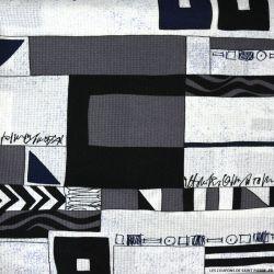 Coton ajouré imprimé graphique gris et marine