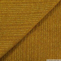 Maille tricot côtelé lurex jaune moutarde