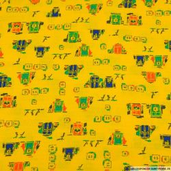 Coton ajouré imprimé jouons au bingo fond jaune