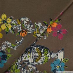 Coton imprimé vide et fleurs marron