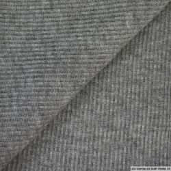Maille polyester rayé chiné gris