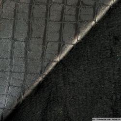 Simili Cuir Croco Noir fourré