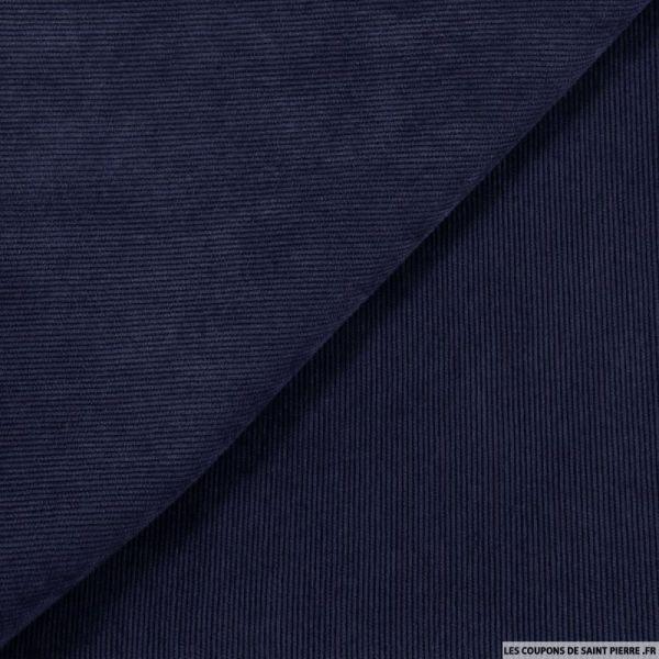 Velours polyester côtelé bleu pétrole