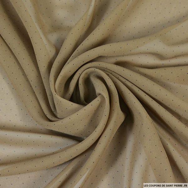 Mousseline de soie têtes d'épingles camel