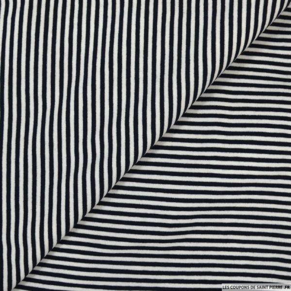Jersey polyester rayé noir et blanc