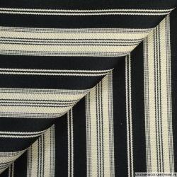 Toile de coton à rayures satiné noir