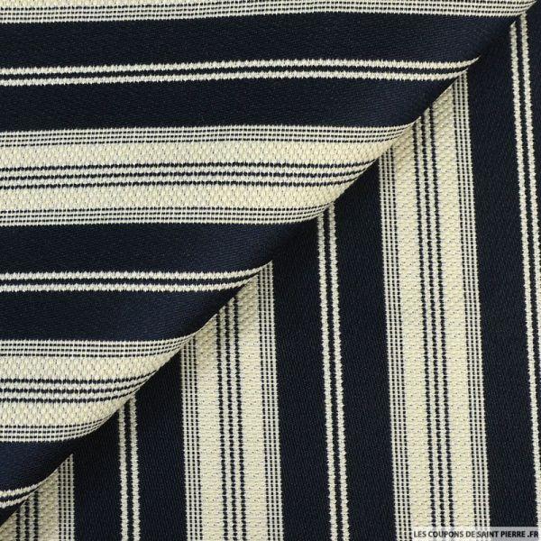 Toile de coton à rayures satiné bleu