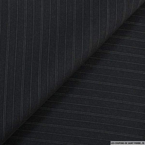 Tissu Tailleur noir en laine 100% fines rayures