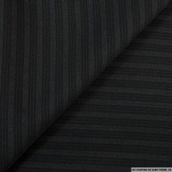 Tissu Tailleur noir en laine 100% double rayures
