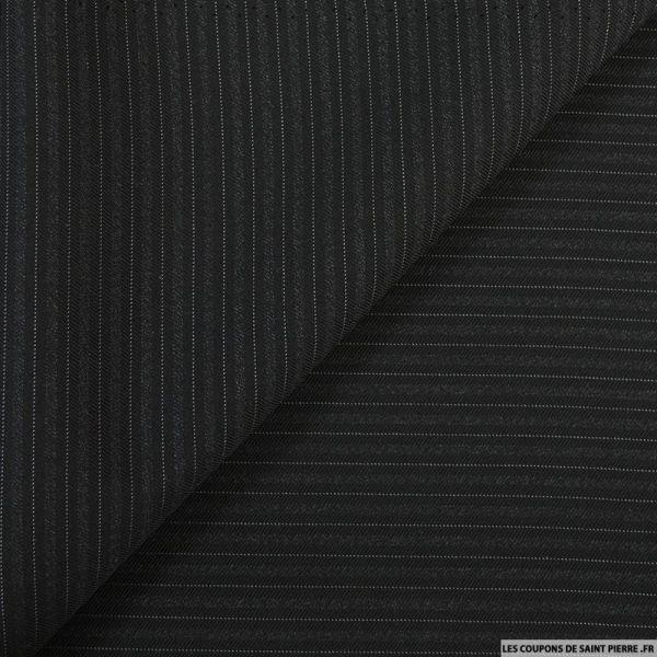 Tissu Tailleur noir en laine 100% rayé