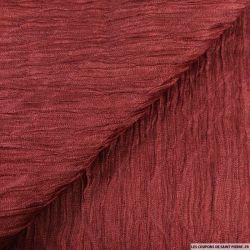 Organza contrecollé de soie froissé lie de vin