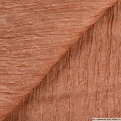 Organza contrecollé de soie froissé vieux rose