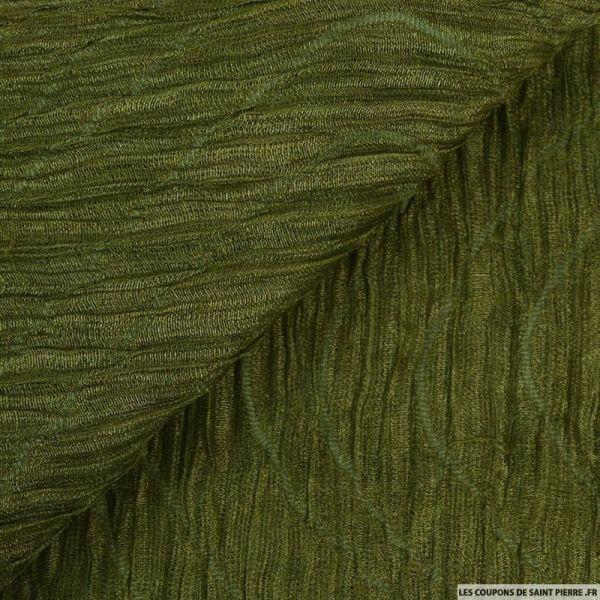Organza contrecollé de soie froissé kaki