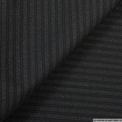 Tissu Tailleur noir en laine 100% rayé ton sur ton