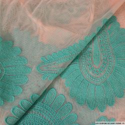 Maille brodé rose et turquoise