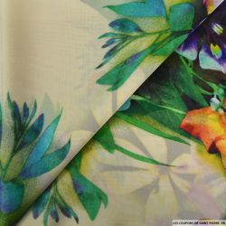 Crêpe georgette imprimé jardin contrasté