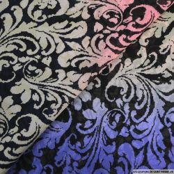 Crêpe georgette imprimé fleurs de lys multicolore
