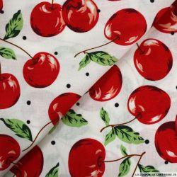 Coton imprimé grosse cerise fond blanc