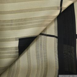 Mousseline dévorée rayures dorés gris beige et noir