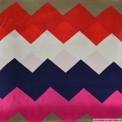 Satin polyester fluide zigzag multicolore