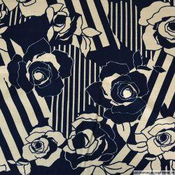 Jersey imprimé viscose rose en rayure