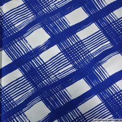 Jersey imprimé damier fourchette bleu