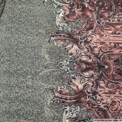 Mousseline imprimé mode royale rose et gris