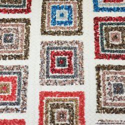 Tissu résille pailleté motif carré multicolore