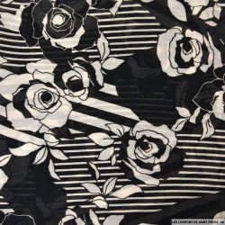 Crêpe georgette imprimé rayures et fleurs fond noir