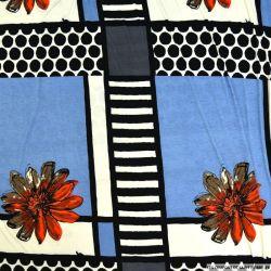 Jersey polyester imprimé fleurs fond fantaisie