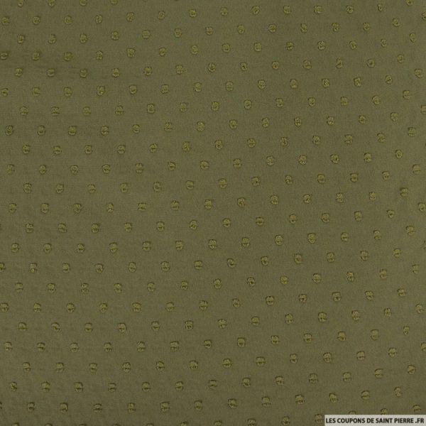 Mousseline de polyester plumetis fantaisie kaki