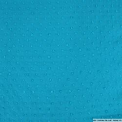 Mousseline de polyester plumetis fantaisie turquoise