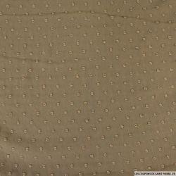 Mousseline de polyester plumetis fantaisie marron clair