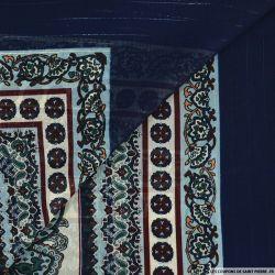 Mousseline imprimé rayé irisé carré cachemire marine