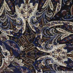 Mousseline imprimé rayé irisé carré plume de paon