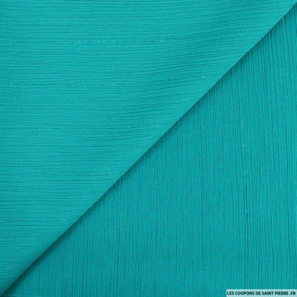 Crépon polyester irisé ton sur ton turquoise