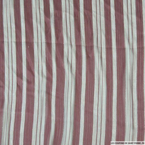 Tissu Dévorée rayé irisé lie de vin