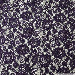 Dentelle polyester fleurie violette