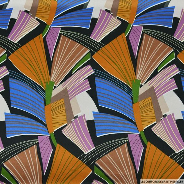 Satin de polyester imprimé branche de culture