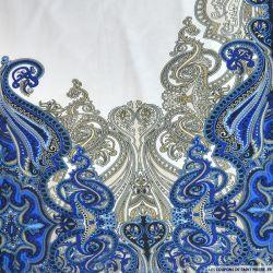 Jersey imprimé cachemire bleu fond blanc