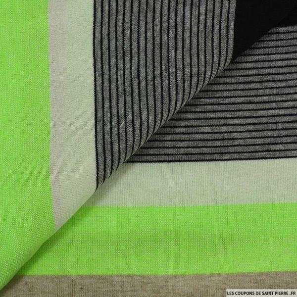 Jersey rayé polyviscose flashy vert