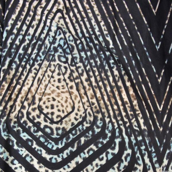 Jersey imprimé sauvage bleu fond noir