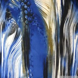 Jersey imprimé peinture fond bleu
