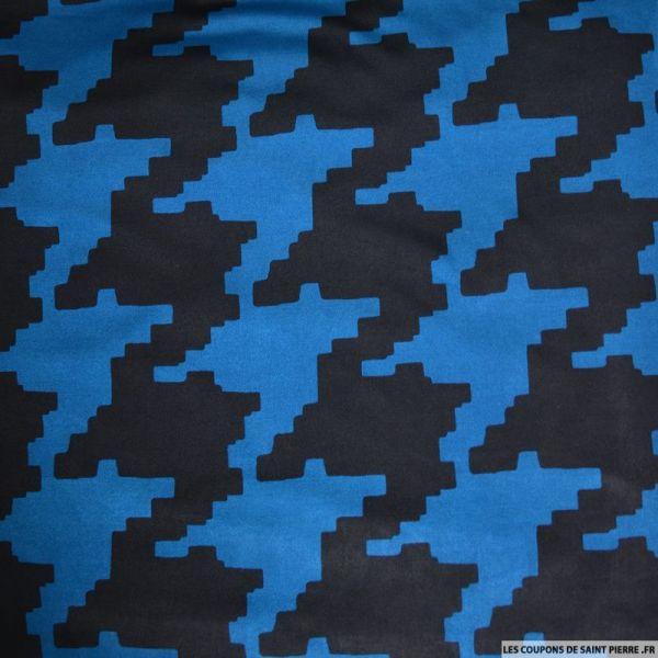 Jersey imprimé pied de coq pixel bleu