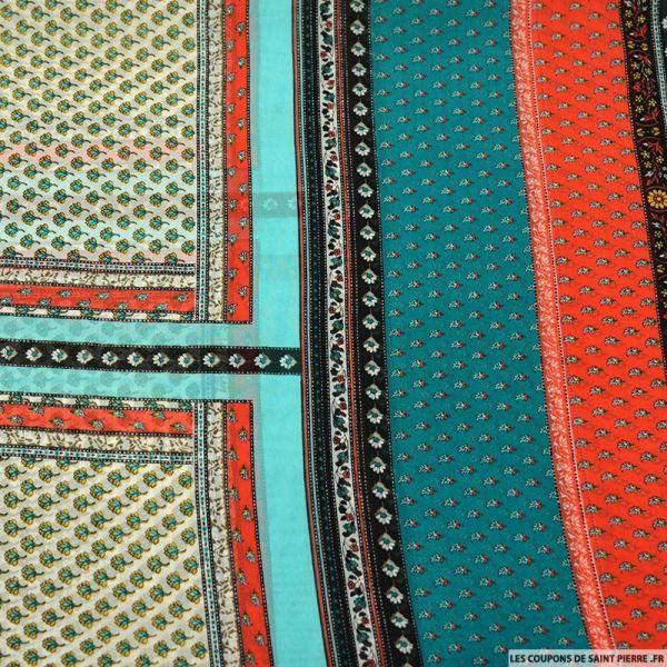 Mousseline imprimée rayure tapis colorés fond turquoise