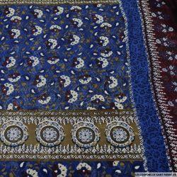 Mousseline imprimée panneau arabesque fleurie